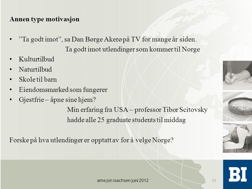 """Annen type motivasjon • """"Ta godt imot"""", sa Dan Børge Akerø på TV for mange år siden. Ta godt imot utlendinger som kommer til Norge • Kulturtilbud • Na"""