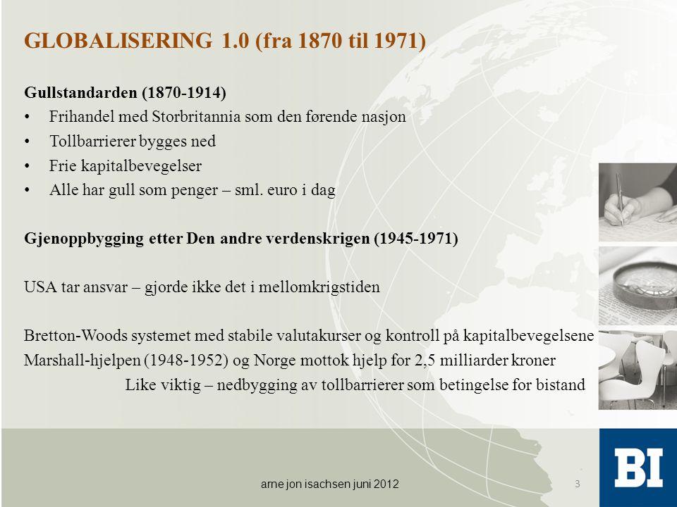 GLOBALISERING 1.0 (fra 1870 til 1971) Gullstandarden (1870-1914) • Frihandel med Storbritannia som den førende nasjon • Tollbarrierer bygges ned • Fri
