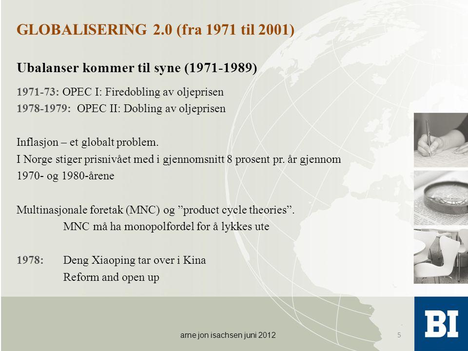 GLOBALISERING 2.0 (fra 1971 til 2001) Ubalanser kommer til syne (1971-1989) 1971-73: OPEC I: Firedobling av oljeprisen 1978-1979: OPEC II: Dobling av