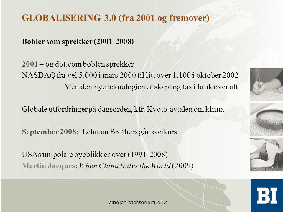 GLOBALISERING 3.0 (fra 2001 og fremover) Bobler som sprekker (2001-2008) 2001 – og dot.com boblen sprekker NASDAQ fra vel 5.000 i mars 2000 til litt o