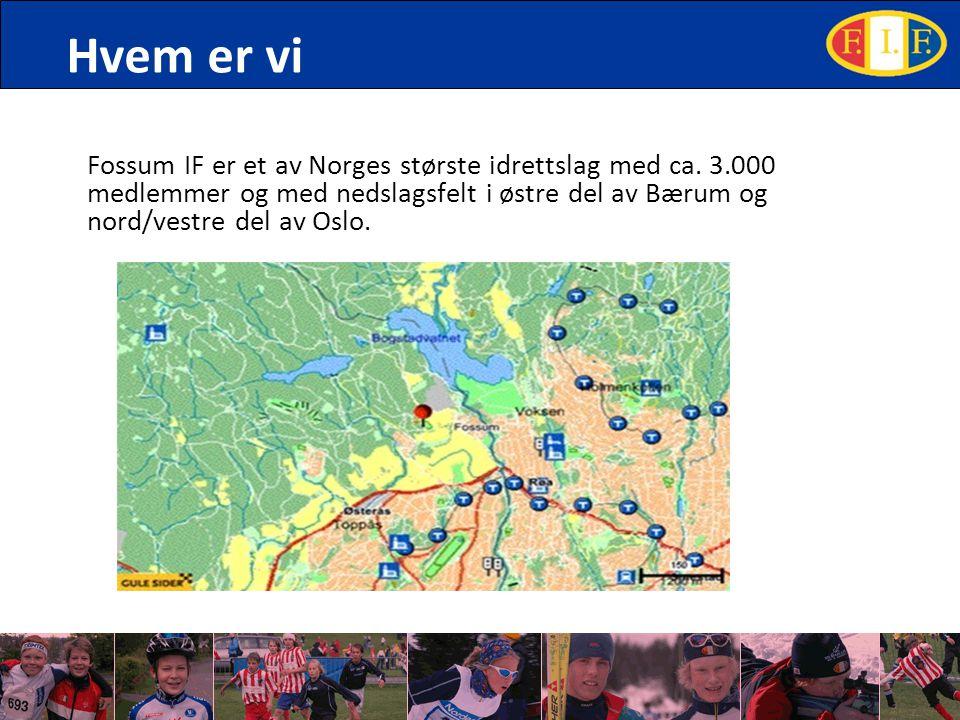 Hvem er vi Fossum IF er et av Norges største idrettslag med ca. 3.000 medlemmer og med nedslagsfelt i østre del av Bærum og nord/vestre del av Oslo.