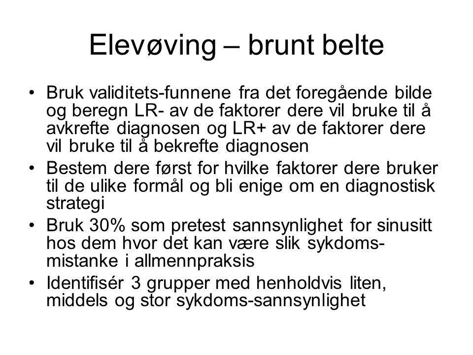 Elevøving – brunt belte •Bruk validitets-funnene fra det foregående bilde og beregn LR- av de faktorer dere vil bruke til å avkrefte diagnosen og LR+