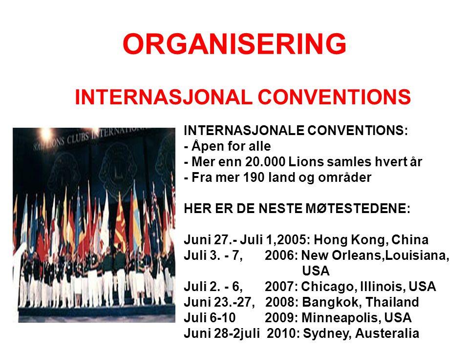 ORGANISERING INTERNASJONAL CONVENTIONS INTERNASJONALE CONVENTIONS: - Åpen for alle - Mer enn 20.000 Lions samles hvert år - Fra mer 190 land og område