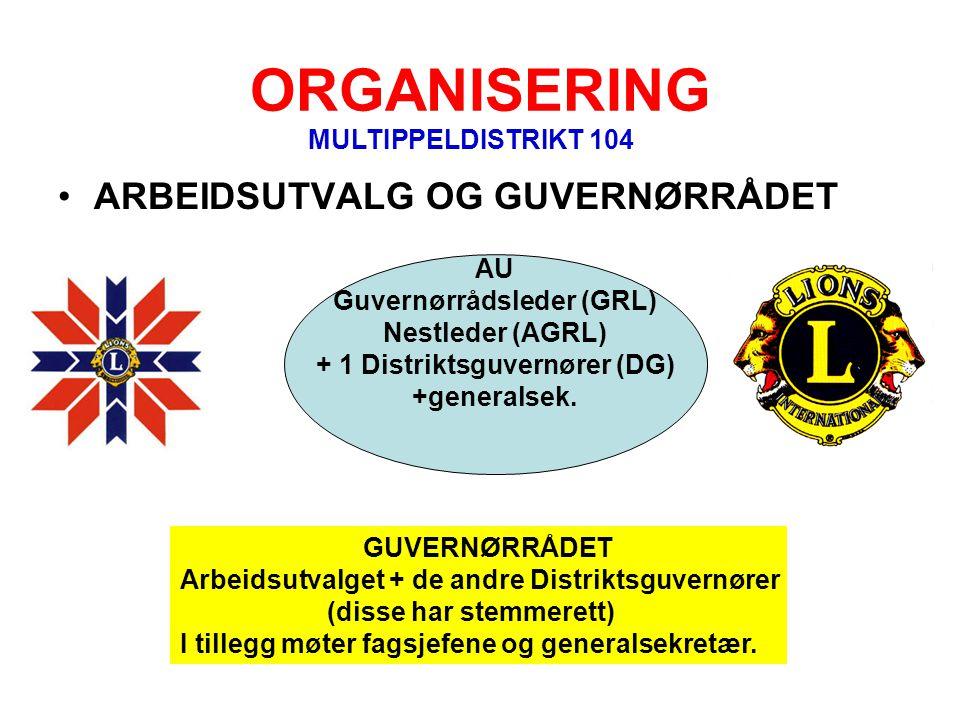 ORGANISERING •ARBEIDSUTVALG OG GUVERNØRRÅDET AU Guvernørrådsleder (GRL) Nestleder (AGRL) + 1 Distriktsguvernører (DG) +generalsek. GUVERNØRRÅDET Arbei