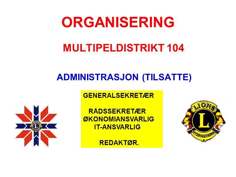 ORGANISERING MULTIPELDISTRIKT 104 ADMINISTRASJON (TILSATTE) GENERALSEKRETÆR RÅDSSEKRETÆR ØKONOMIANSVARLIG IT-ANSVARLIG REDAKTØR.
