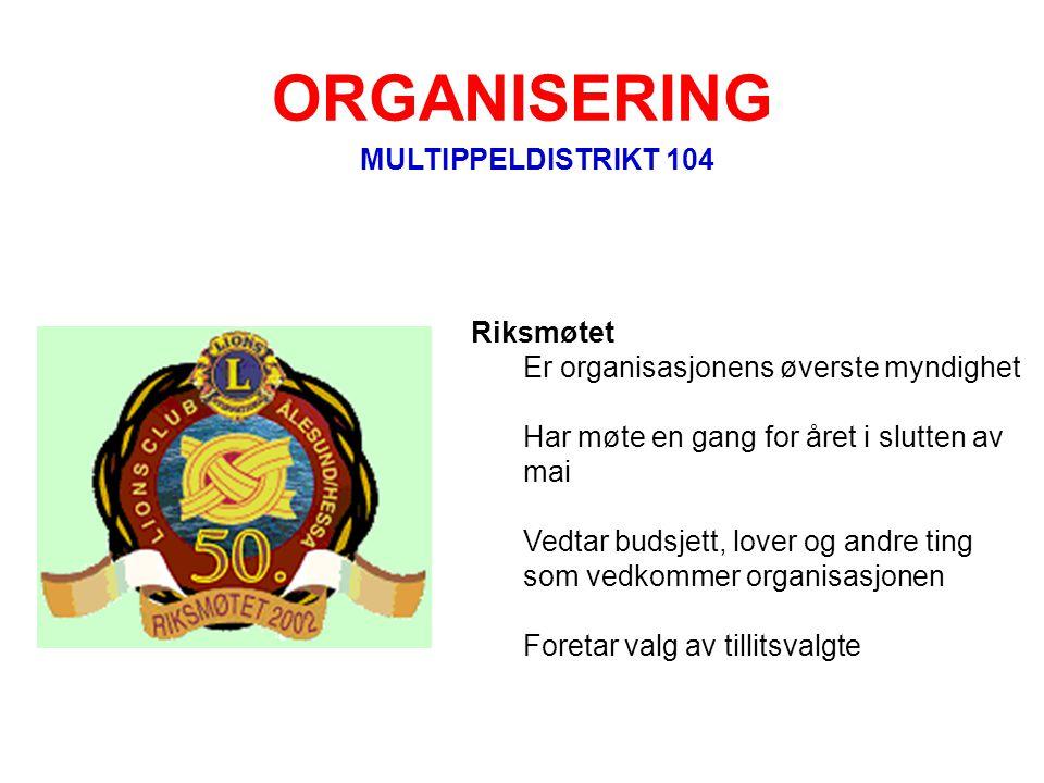 ORGANISERING MULTIPPELDISTRIKT 104 Riksmøtet Er organisasjonens øverste myndighet Har møte en gang for året i slutten av mai Vedtar budsjett, lover og
