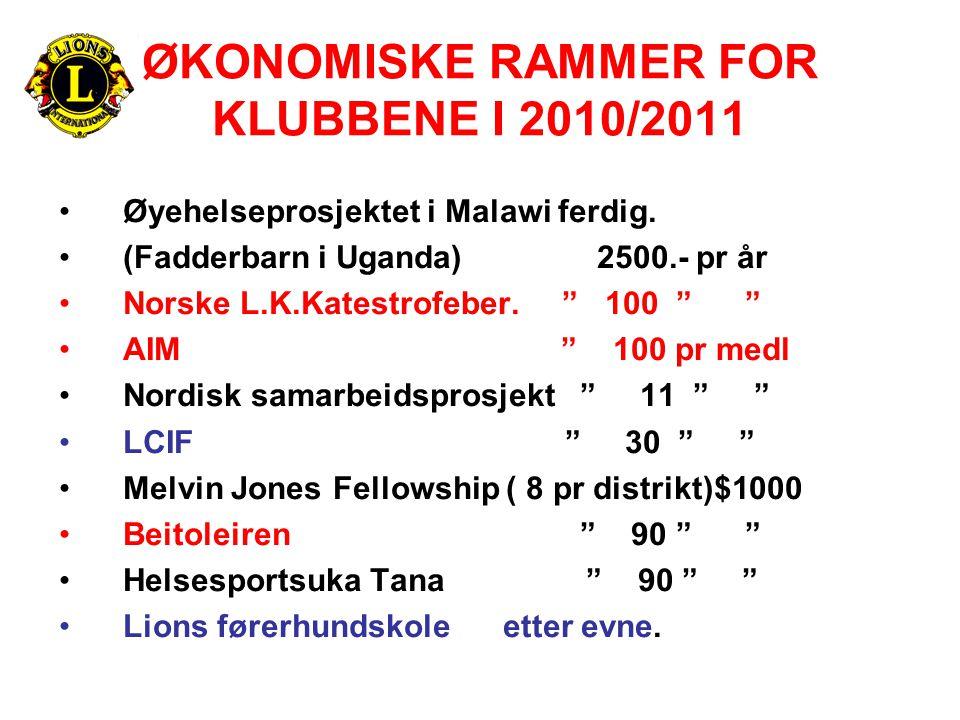 """ØKONOMISKE RAMMER FOR KLUBBENE I 2010/2011 •Øyehelseprosjektet i Malawi ferdig. •(Fadderbarn i Uganda) 2500.- pr år •Norske L.K.Katestrofeber. """" 100 """""""