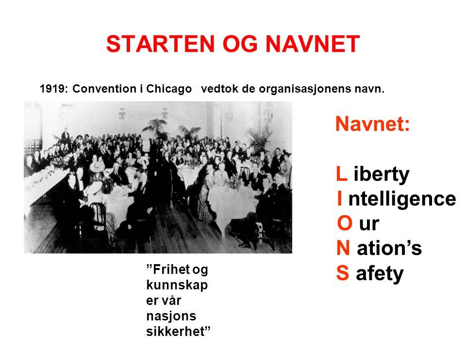 """STARTEN OG NAVNET 1919: Convention i Chicagovedtok de organisasjonens navn. Navnet: L iberty I ntelligence O ur N ation's S afety """"Frihet og kunnskap"""