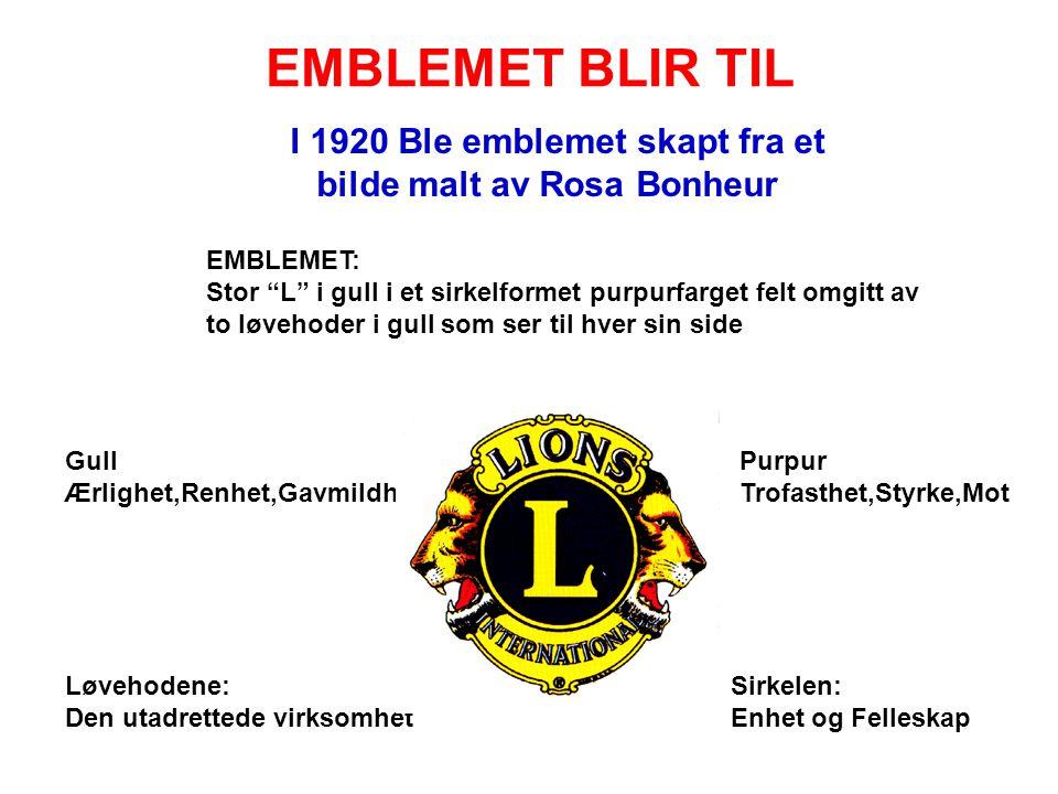 """EMBLEMET BLIR TIL I 1920 Ble emblemet skapt fra et bilde malt av Rosa Bonheur EMBLEMET: Stor """"L"""" i gull i et sirkelformet purpurfarget felt omgitt av"""