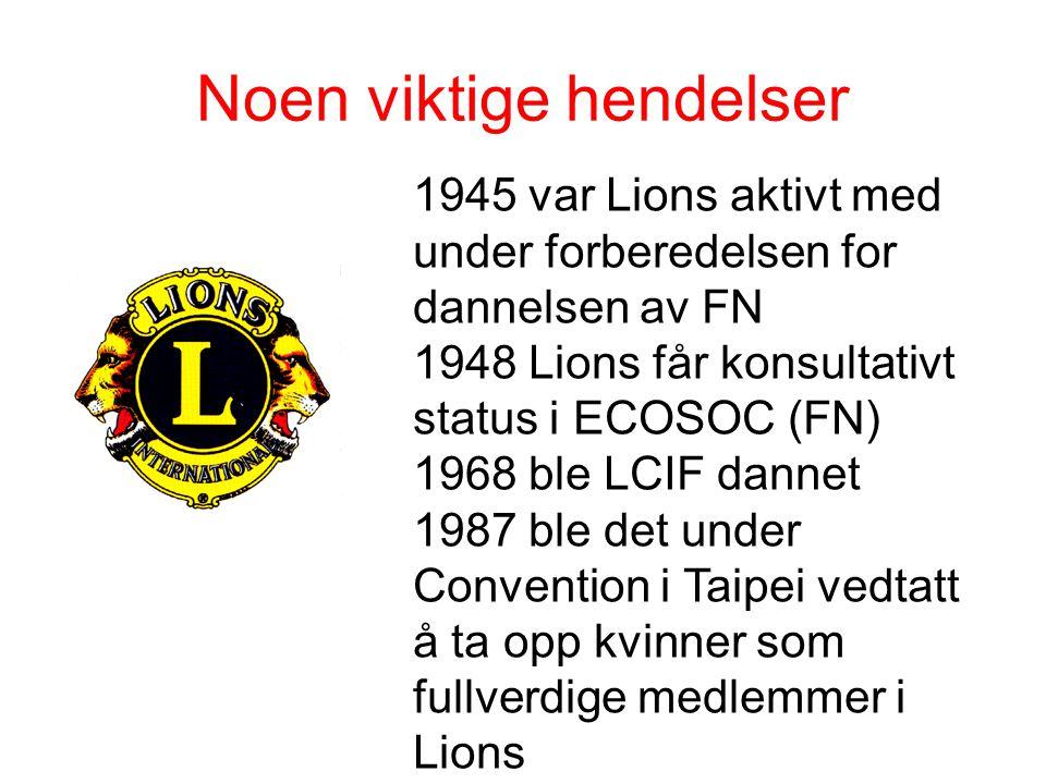 Noen viktige hendelser 1945 var Lions aktivt med under forberedelsen for dannelsen av FN 1948 Lions får konsultativt status i ECOSOC (FN) 1968 ble LCI