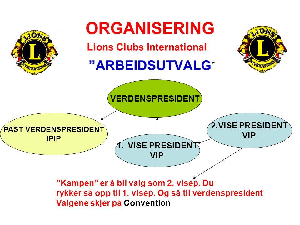 """ORGANISERING """"ARBEIDSUTVALG """" Lions Clubs International VERDENSPRESIDENT PAST VERDENSPRESIDENT IPIP 1.VISE PRESIDENT VIP 2.VISE PRESIDENT VIP """"Kampen"""""""