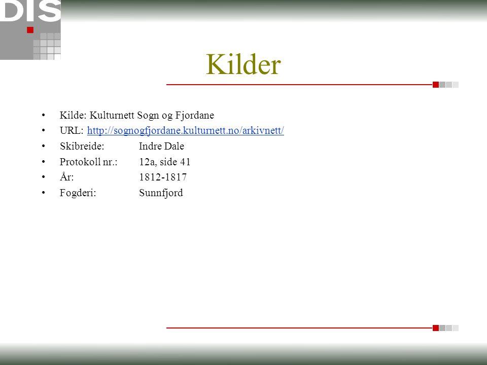 Kilder •Kilde: Kulturnett Sogn og Fjordane •URL: http://sognogfjordane.kulturnett.no/arkivnett/http://sognogfjordane.kulturnett.no/arkivnett/ •Skibreide:Indre Dale •Protokoll nr.:12a, side 41 •År:1812-1817 •Fogderi:Sunnfjord