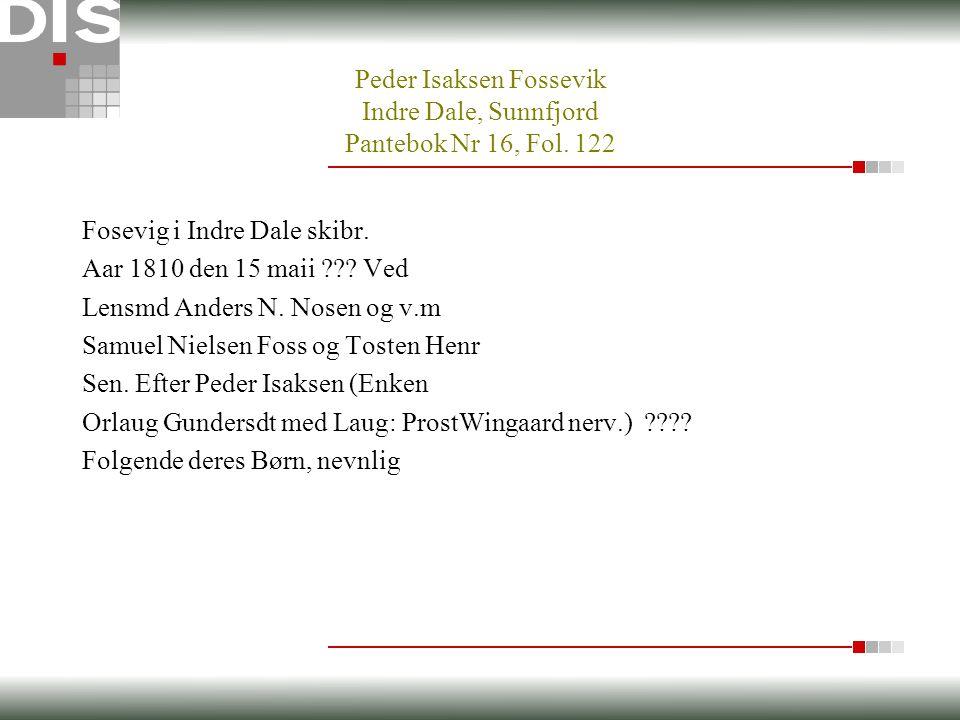 Fosevig i Indre Dale skibr. Aar 1810 den 15 maii .