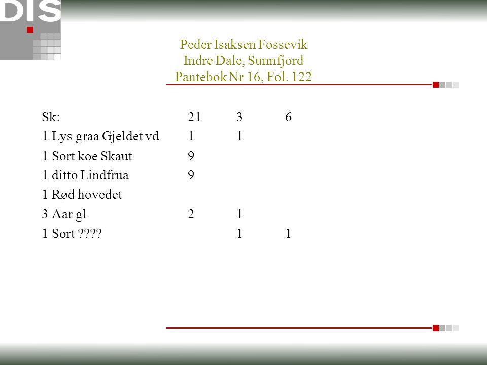 Peder Isaksen Fossevik Indre Dale, Sunnfjord Pantebok Nr 16, Fol.