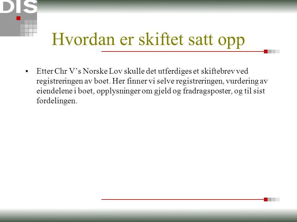 Hvordan er skiftet satt opp •Etter Chr V's Norske Lov skulle det utferdiges et skiftebrev ved registreringen av boet.