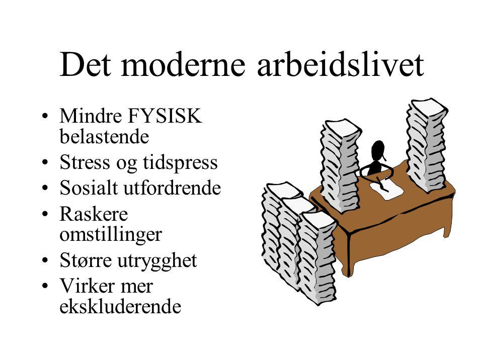 Det moderne arbeidslivet •Mindre FYSISK belastende •Stress og tidspress •Sosialt utfordrende •Raskere omstillinger •Større utrygghet •Virker mer ekskl