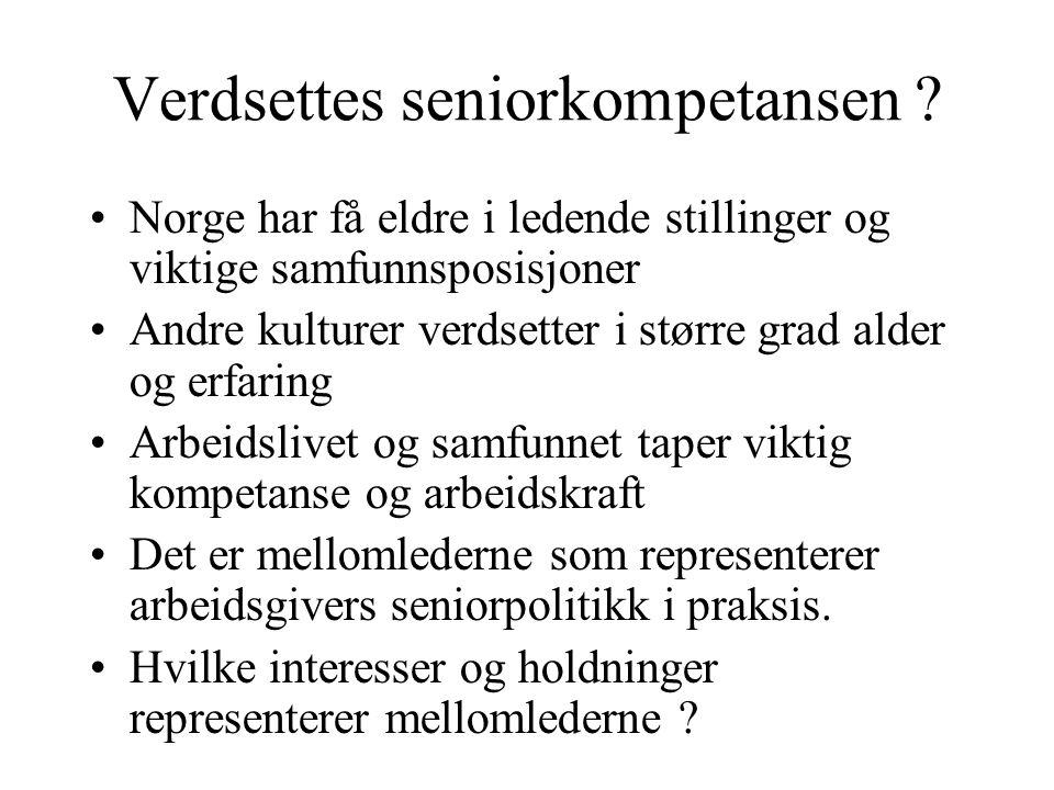Verdsettes seniorkompetansen ? •Norge har få eldre i ledende stillinger og viktige samfunnsposisjoner •Andre kulturer verdsetter i større grad alder o