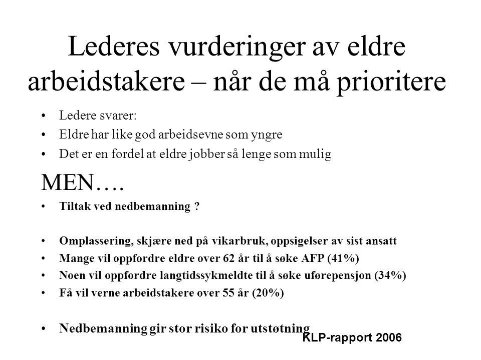 Lederes vurderinger av eldre arbeidstakere – når de må prioritere •Ledere svarer: •Eldre har like god arbeidsevne som yngre •Det er en fordel at eldre