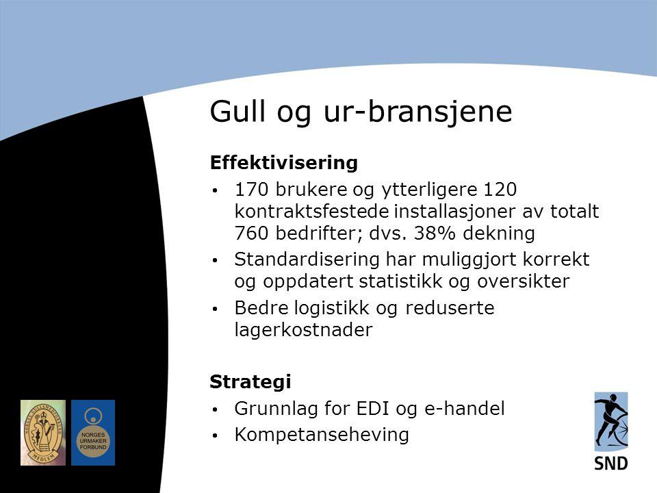 Gull og ur-bransjene Effektivisering  170 brukere og ytterligere 120 kontraktsfestede installasjoner av totalt 760 bedrifter; dvs.