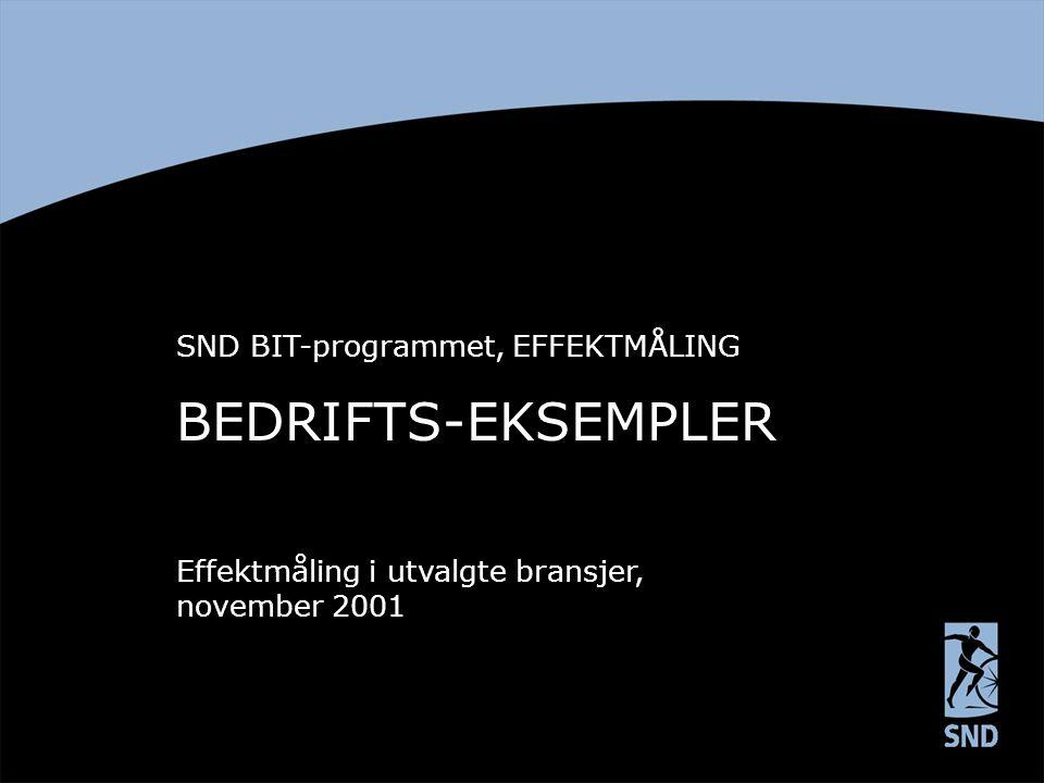 BEDRIFTS-EKSEMPLER SND BIT-programmet, EFFEKTMÅLING Effektmåling i utvalgte bransjer, november 2001
