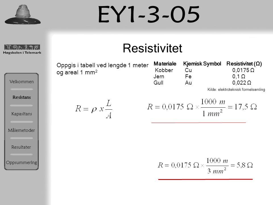 Resistivitet Oppgis i tabell ved lengde 1 meter og areal 1 mm 2 Materiale Kjemisk Symbol Resistivitet (Ω) Kobber Cu 0,0175 Ω Jern Fe 0,1 Ω Gull Au 0,0