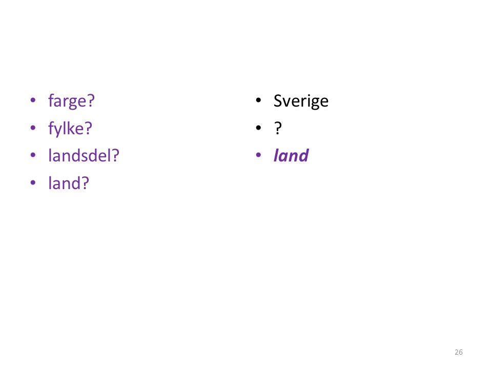 • farge? • fylke? • landsdel? • land? • Sverige •?•? • land 26