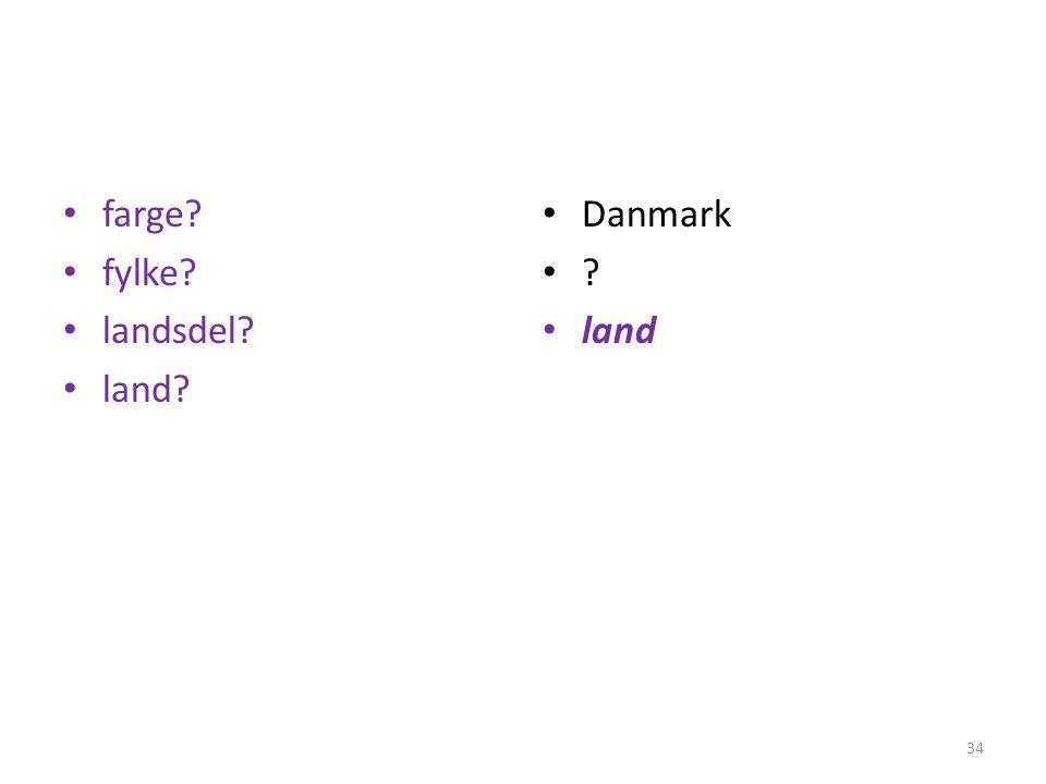• farge? • fylke? • landsdel? • land? • Danmark •?•? • land 34