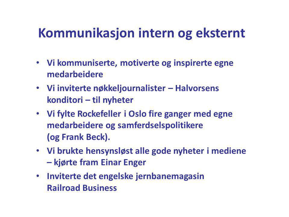 Kommunikasjon intern og eksternt • Vi kommuniserte, motiverte og inspirerte egne medarbeidere • Vi inviterte nøkkeljournalister – Halvorsens konditori – til nyheter • Vi fylte Rockefeller i Oslo fire ganger med egne medarbeidere og samferdselspolitikere (og Frank Beck).