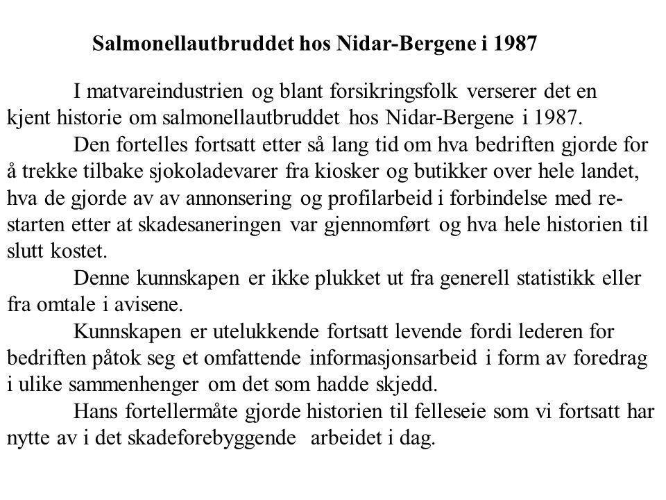 I matvareindustrien og blant forsikringsfolk verserer det en kjent historie om salmonellautbruddet hos Nidar-Bergene i 1987.