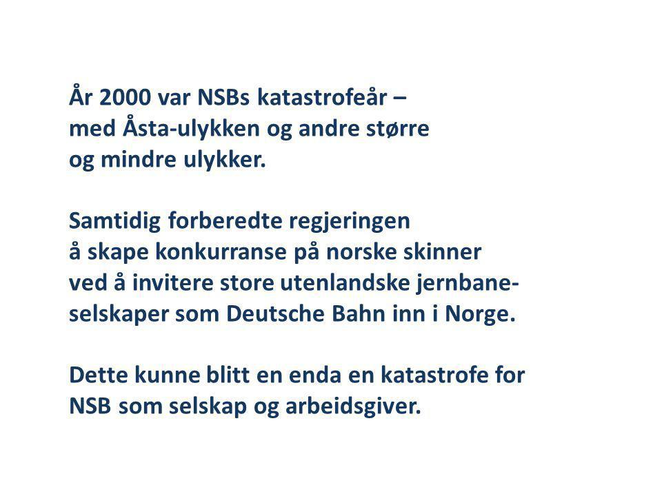 NSBs eier skiftet ut styre og administrasjon Den nye ledelsen tiltrådte våren 2001 og fikk følgende oppdrag: • Økonomien må forbedres • Basiskvaliteten må forbedres • Tilliten må gjenopprettes