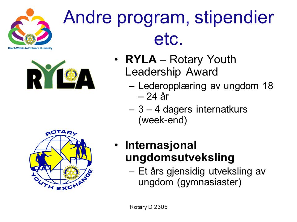Rotary D 2305 Andre program, stipendier etc.