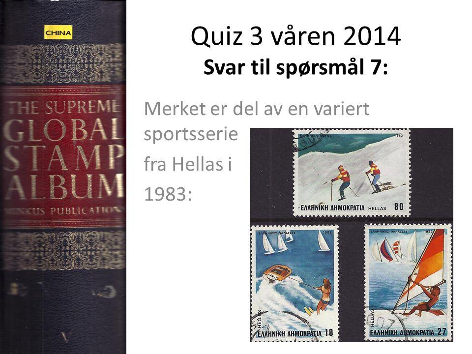 Quiz 3 våren 2014 Svar til spørsmål 7: Merket er del av en variert sportsserie fra Hellas i 1983: