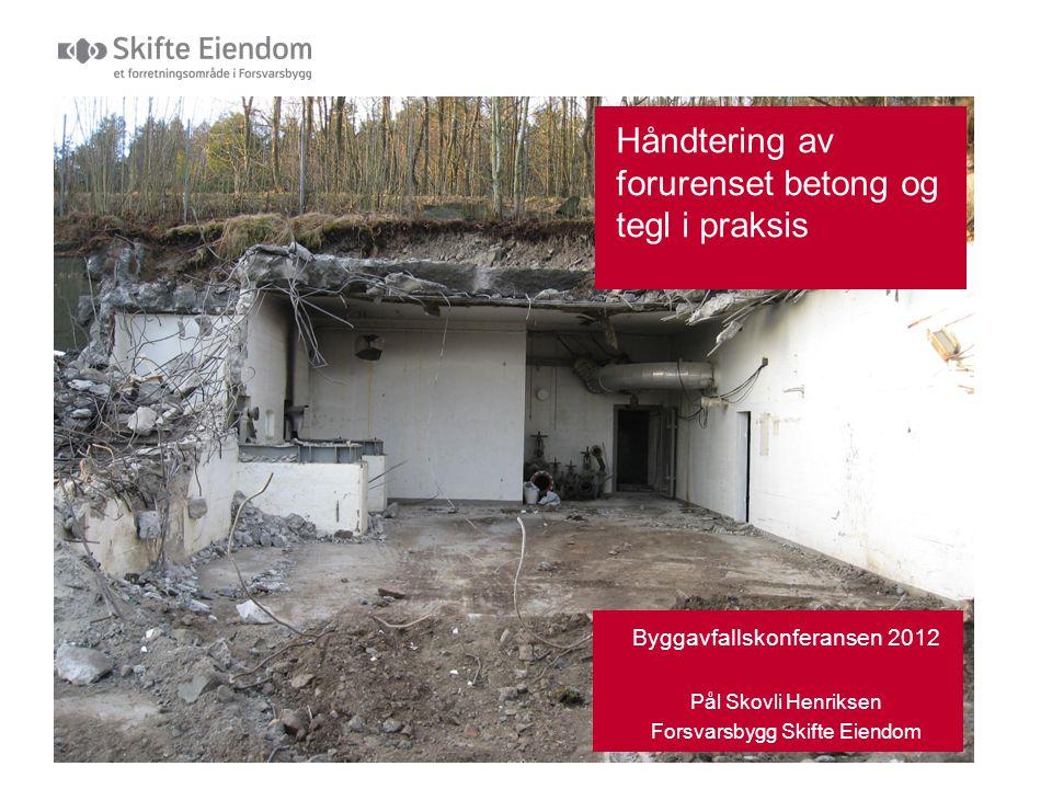 Innhold  Kort om Forsvarsbygg Skifte Eiendom  Hvordan vi arbeider mtp miljøkartlegging, vurdering av gjenbruk og levering når det gjelder betong og tegl.