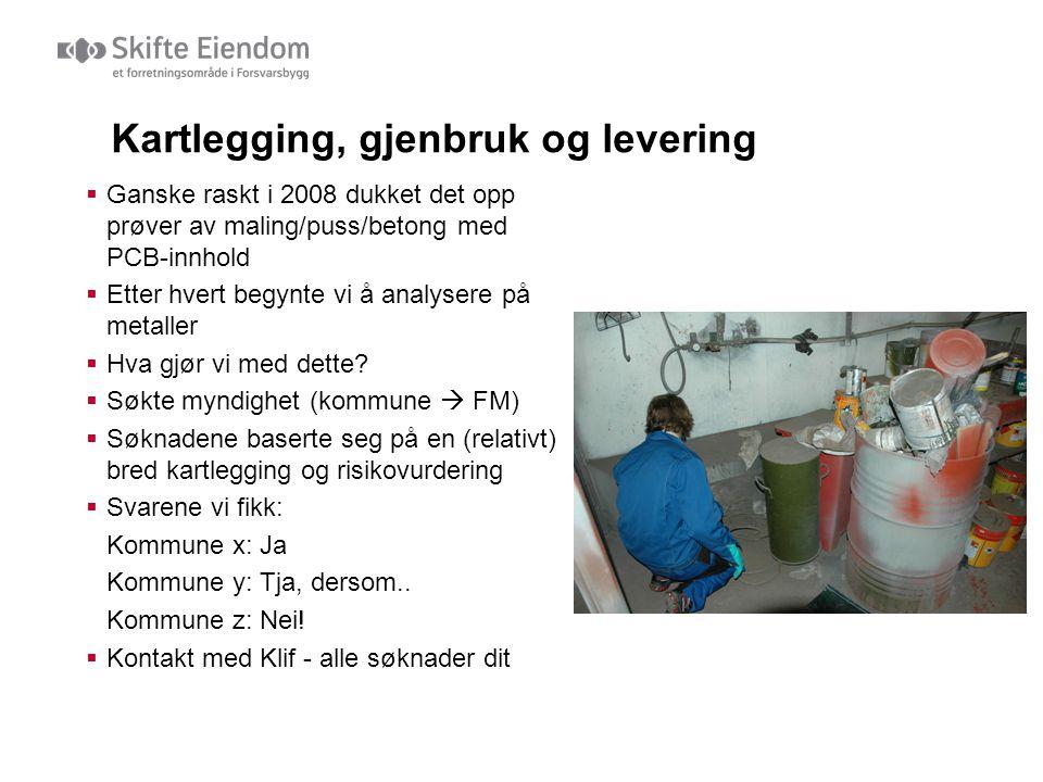 Kartlegging, gjenbruk og levering  Ganske raskt i 2008 dukket det opp prøver av maling/puss/betong med PCB-innhold  Etter hvert begynte vi å analyse