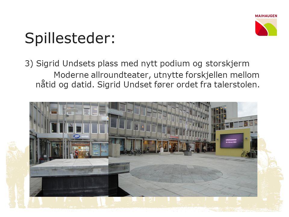 Spillesteder: 3) Sigrid Undsets plass med nytt podium og storskjerm Moderne allroundteater, utnytte forskjellen mellom nåtid og datid. Sigrid Undset f