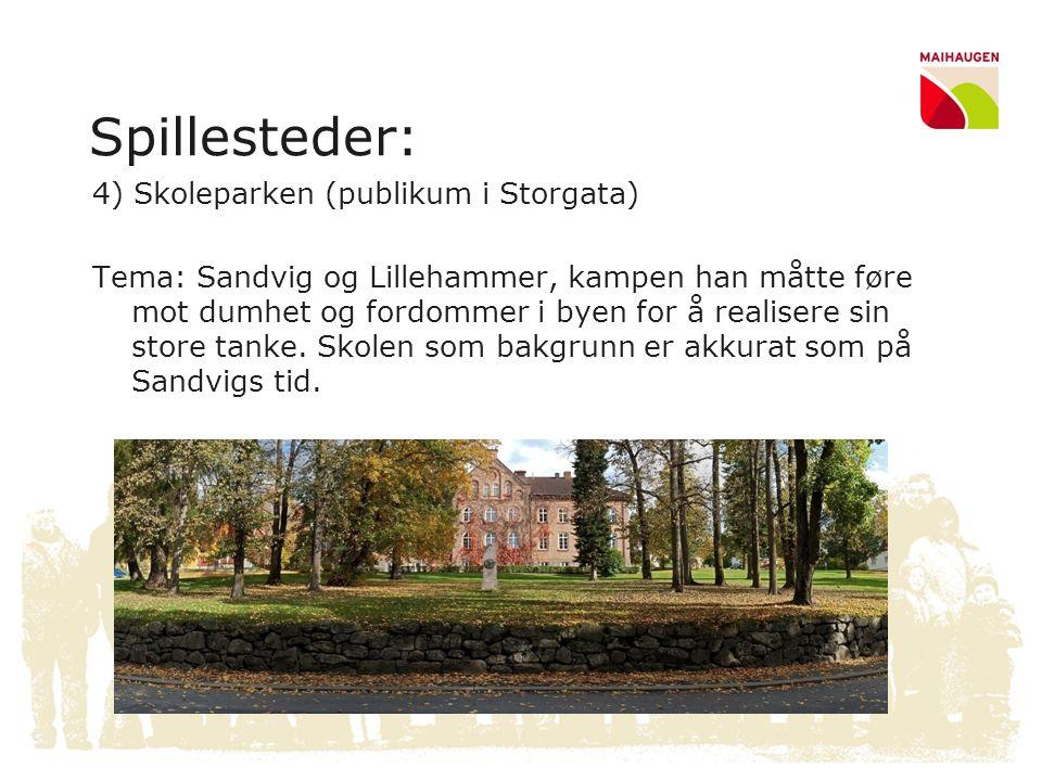 Spillesteder: 4) Skoleparken (publikum i Storgata) Tema: Sandvig og Lillehammer, kampen han måtte føre mot dumhet og fordommer i byen for å realisere