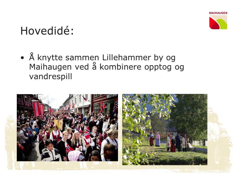 Hovedidé: •Å knytte sammen Lillehammer by og Maihaugen ved å kombinere opptog og vandrespill