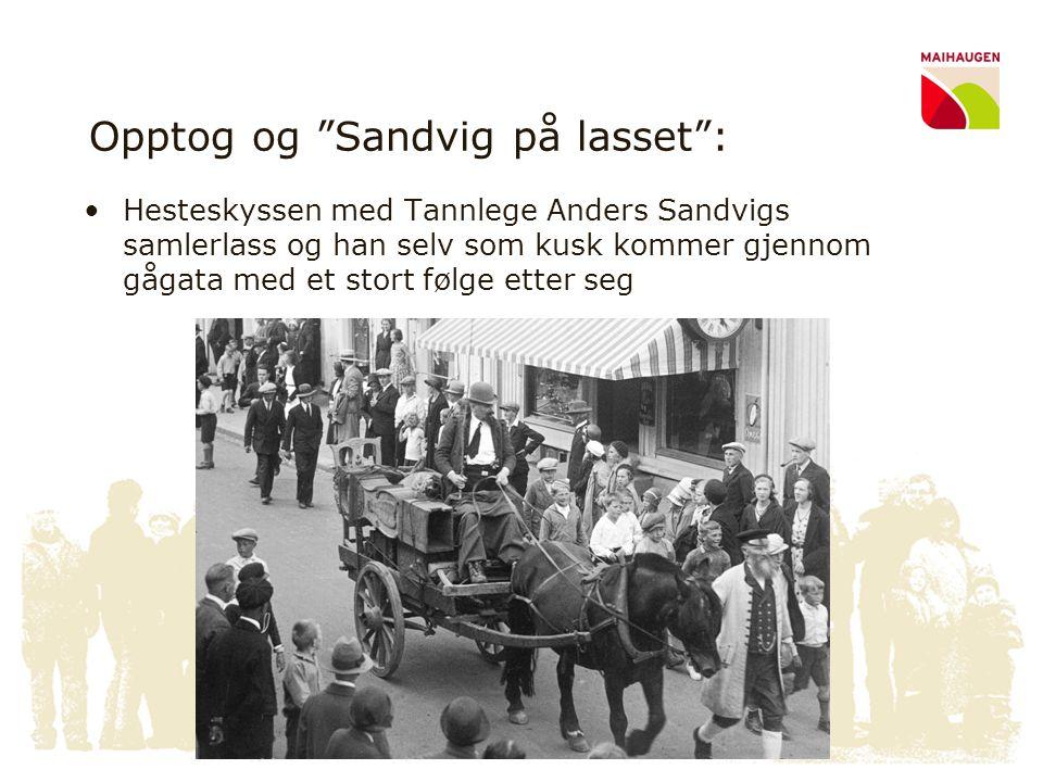 """Opptog og """"Sandvig på lasset"""": •Hesteskyssen med Tannlege Anders Sandvigs samlerlass og han selv som kusk kommer gjennom gågata med et stort følge ett"""