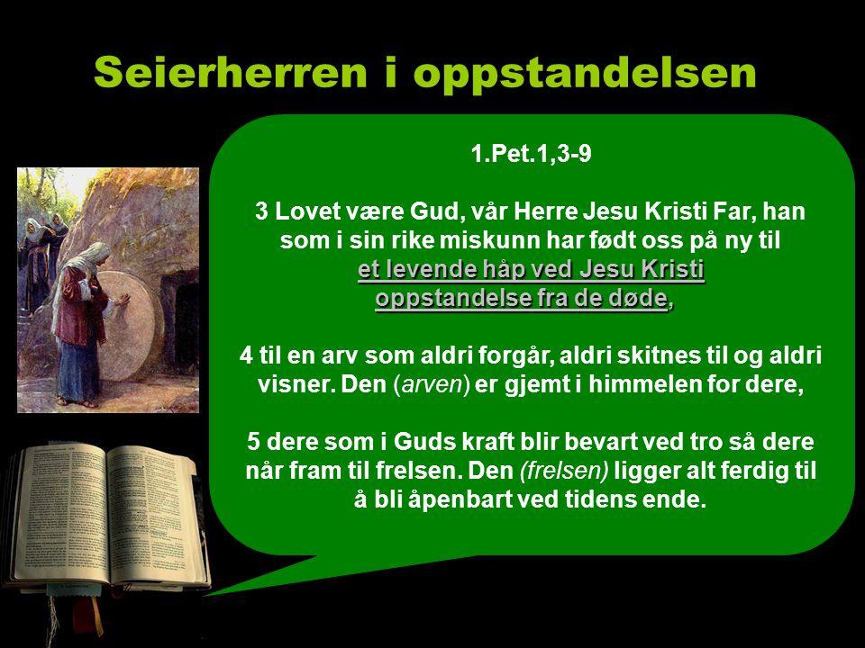 Seierherren i oppstandelsen 6 Derfor kan dere juble av glede, selv om dere nå en kort tid, om så må være, har det tungt i mange slags prøvelser.