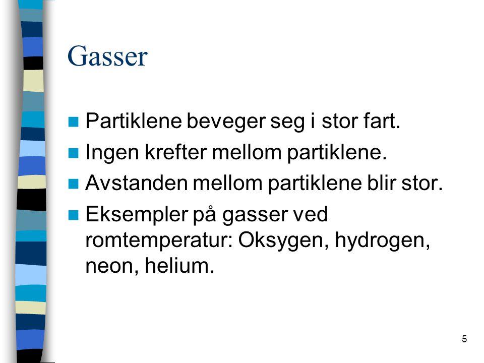 5 Gasser  Partiklene beveger seg i stor fart. Ingen krefter mellom partiklene.