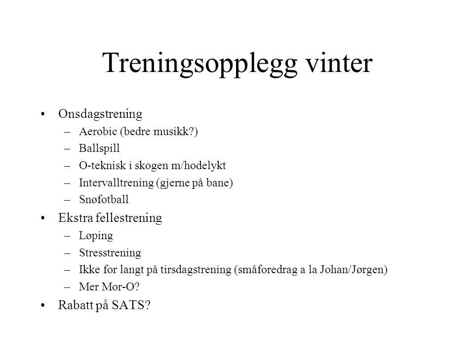 Treningsopplegg vinter •Snowboardtrening •Snøballkasting på Stian •Natt-ski-orientering •Et par samlinger –Danmarkssamling.