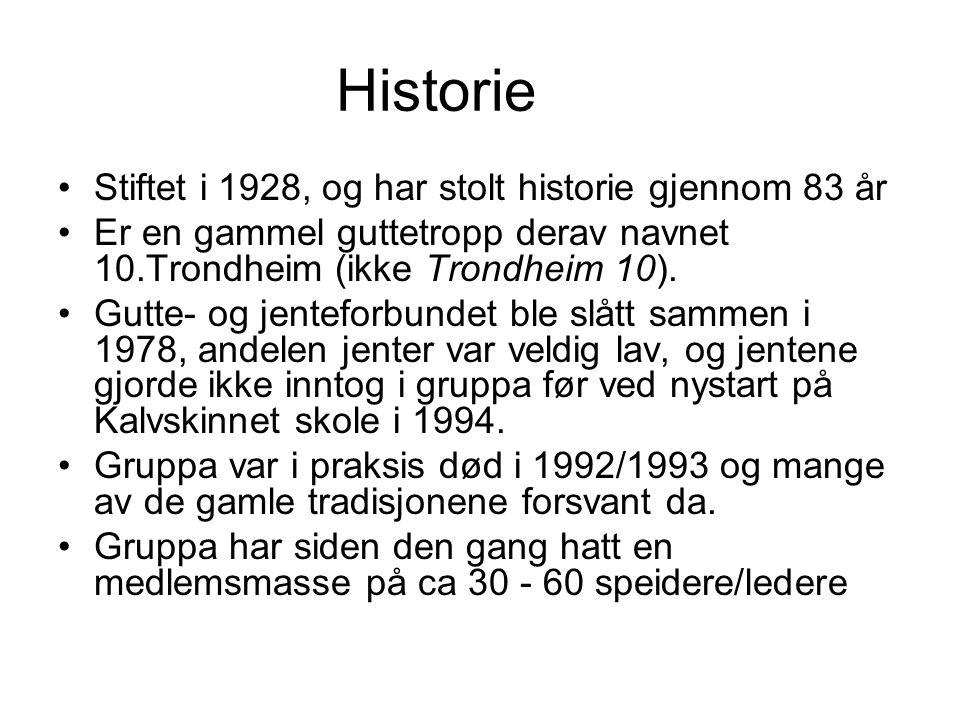 Historie •Stiftet i 1928, og har stolt historie gjennom 83 år •Er en gammel guttetropp derav navnet 10.Trondheim (ikke Trondheim 10). •Gutte- og jente