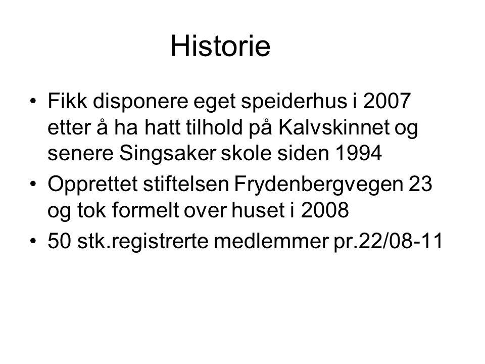 Historie •Fikk disponere eget speiderhus i 2007 etter å ha hatt tilhold på Kalvskinnet og senere Singsaker skole siden 1994 •Opprettet stiftelsen Fryd