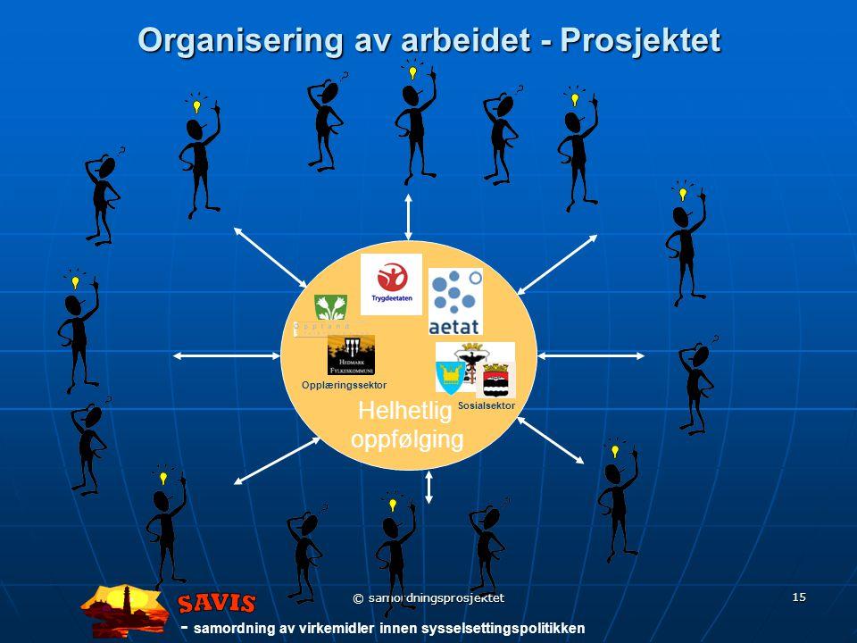- samordning av virkemidler innen sysselsettingspolitikken © samordningsprosjektet 15 Helhetlig oppfølging Organisering av arbeidet - Prosjektet Sosialsektor Opplæringssektor