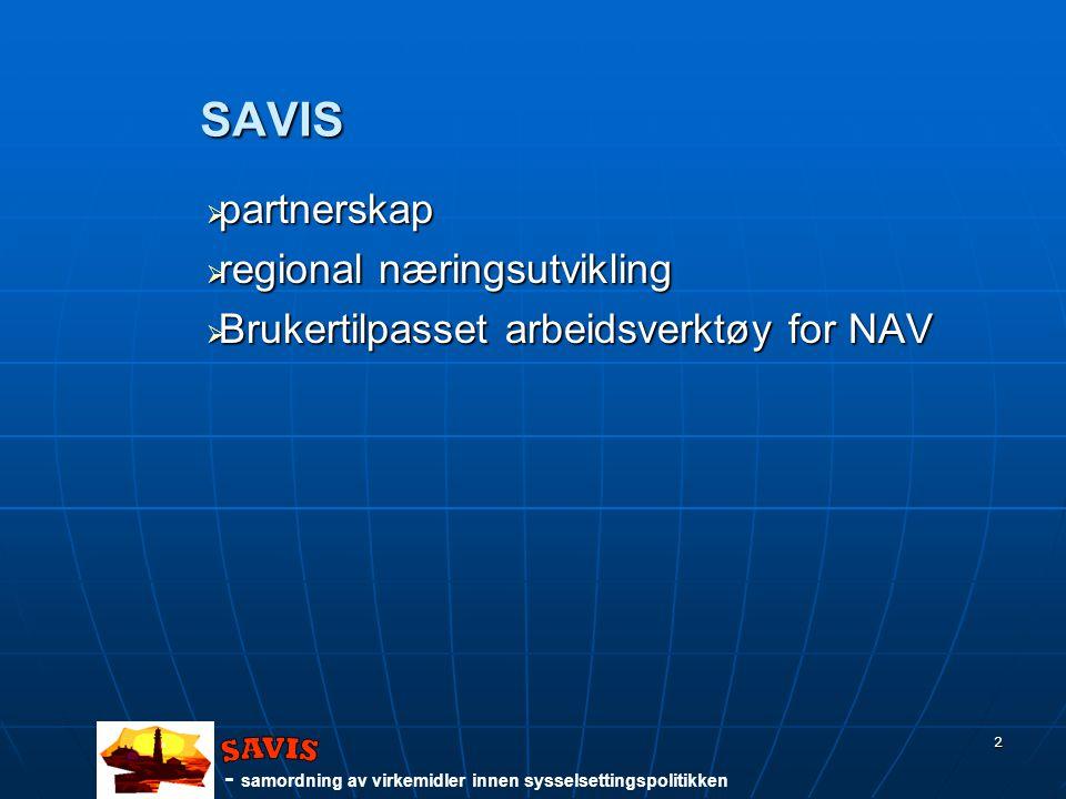 - samordning av virkemidler innen sysselsettingspolitikken 2 SAVIS  partnerskap  regional næringsutvikling  Brukertilpasset arbeidsverktøy for NAV