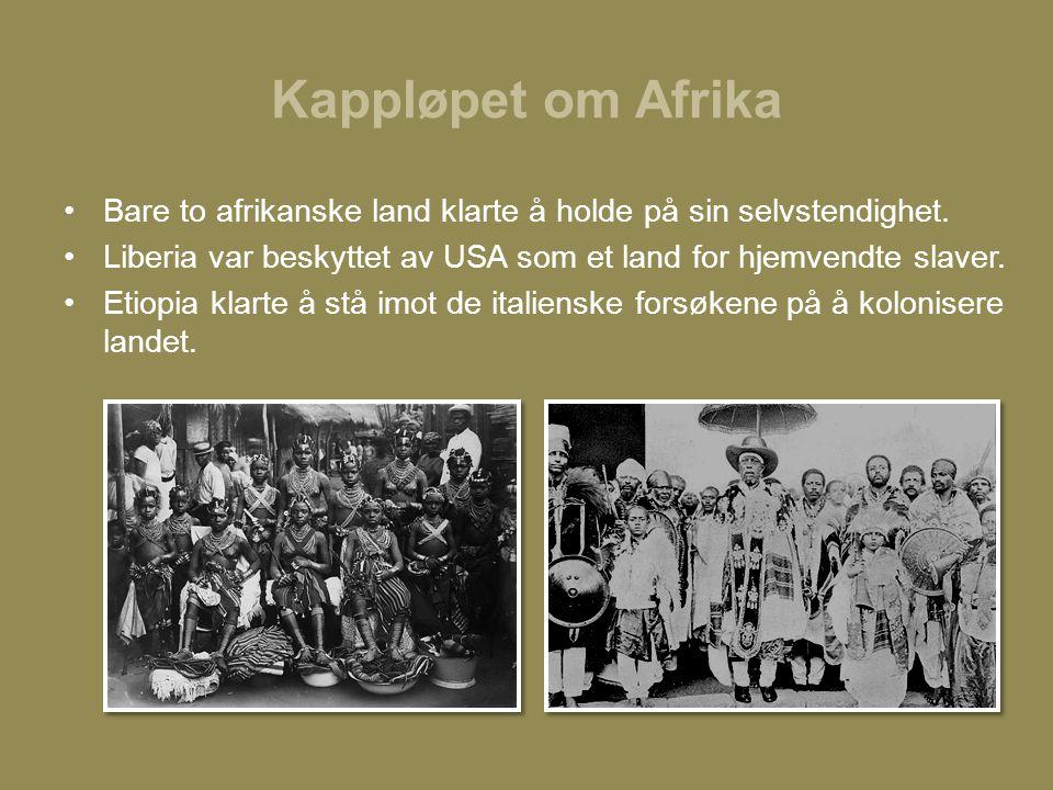 Kappløpet om Afrika •Bare to afrikanske land klarte å holde på sin selvstendighet. •Liberia var beskyttet av USA som et land for hjemvendte slaver. •E
