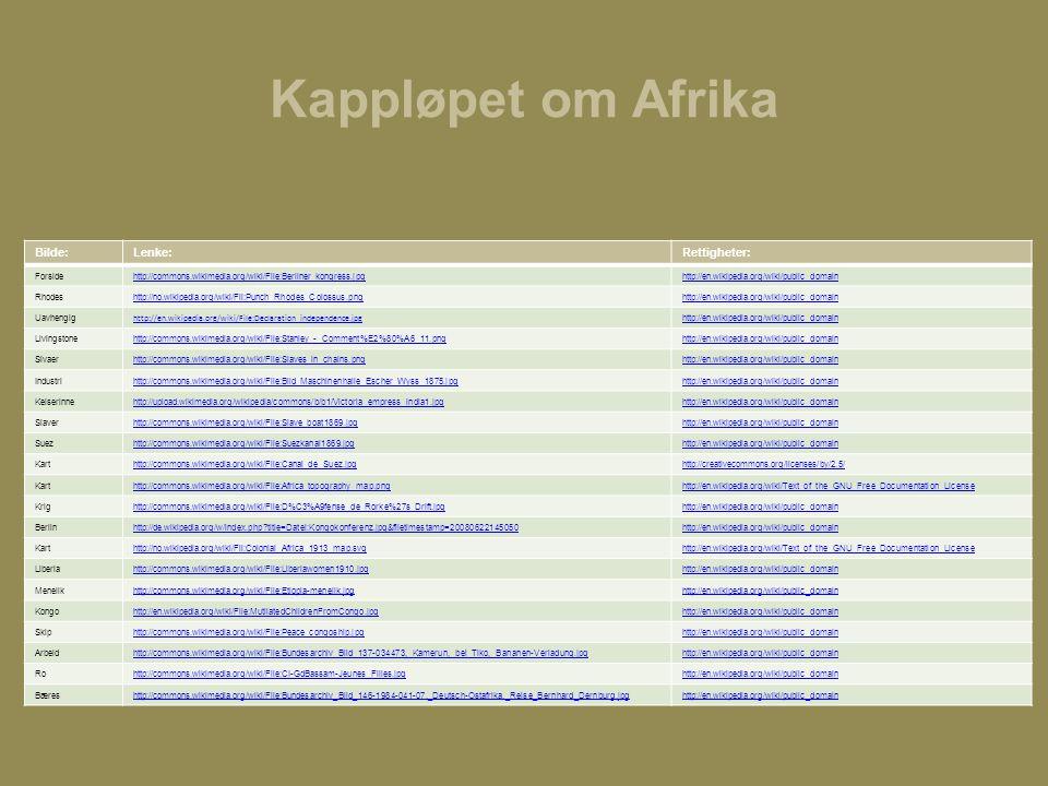 Kappløpet om Afrika Bilde:Lenke:Rettigheter: Forsidehttp://commons.wikimedia.org/wiki/File:Berliner_kongress.jpghttp://en.wikipedia.org/wiki/public_do