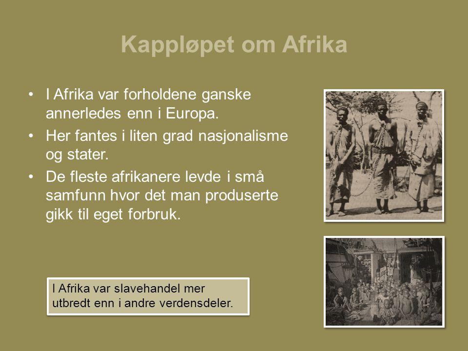 Kappløpet om Afrika •I Afrika var forholdene ganske annerledes enn i Europa. •Her fantes i liten grad nasjonalisme og stater. •De fleste afrikanere le
