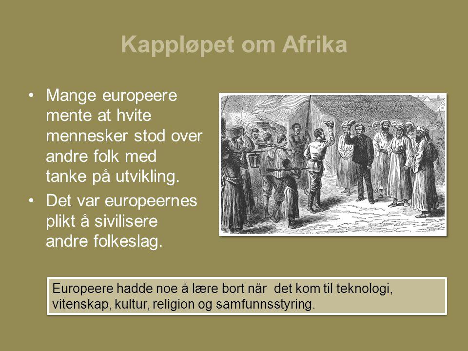 Kappløpet om Afrika •Mange europeere mente at hvite mennesker stod over andre folk med tanke på utvikling. •Det var europeernes plikt å sivilisere and