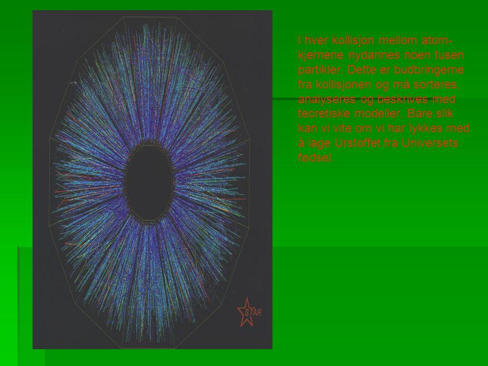I hver kollisjon mellom atom- kjernene nydannes noen tusen partikler. Dette er budbringerne fra kollisjonen og må sorteres, analyseres og beskrives me